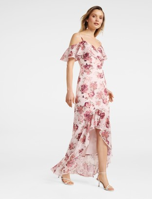 Forever New Stacey Off-Shoulder Ruffle Maxi Dress - Rosewood Floral - 6