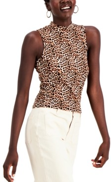 Derek Heart Juniors' Sleeveless Leopard Mock Neck Top