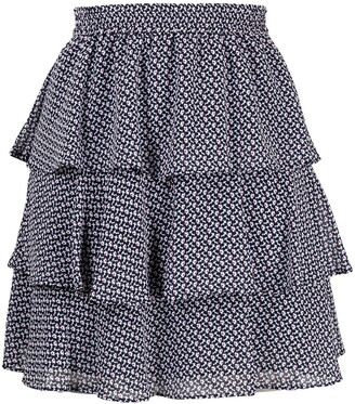 MICHAEL Michael Kors Floral Print Tiered Mini Skirt
