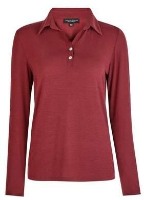 Dorothy Perkins Womens Oxblood Long Sleeve Polo Top