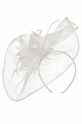 Roman Originals Women Large Contrast Feather Floral Disc Fascinator - Ladies Smart Special Occasion Evening Wedding Guest Mother of Bride Groom Ascot Races Day Hat Accessory - Ivory - Size ONE