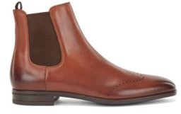 HUGO BOSS Chelsea Boots In Burnished Leather With Lasered Details - Dark Brown