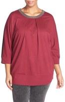 Melissa McCarthy Embellished Colorblock Ponte Top (Plus Size)