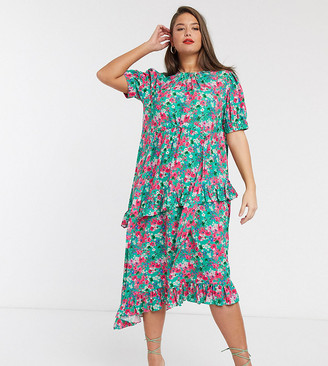 Lost Ink plus midi dress with drawstring detail and frill skirt in bright floral