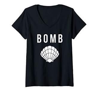 Womens Funny Bombshell Pun Seashell - Summer Beach Sea Shell V-Neck T-Shirt