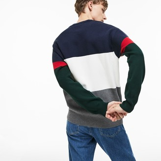 Lacoste Men's Crew Neck Colorblock Flat Ribbed Cotton Sweater