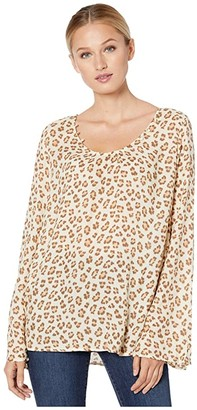 Stetson 0567 Rayon Crepe Leopard Print Blouse (Brown) Women's Clothing