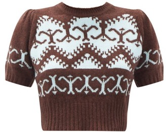 JoosTricot Norweigan-knit Cropped Merino-wool Blend Sweater - Brown Multi