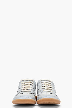 Maison Martin Margiela Matte Grey Pythonskin Low-top REplica sneakers
