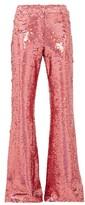 Raey Sequinned Slim-leg Flared Trousers - Womens - Pink