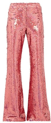 Raey Sequinned Slim-leg Flared Trousers - Womens - Pink