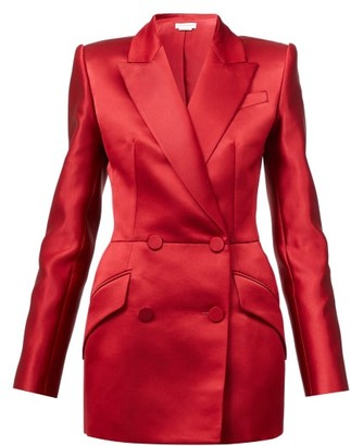 Alexander McQueen Double-breasted Silk-satin Suit Jacket - Red