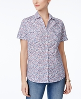Karen Scott Petite Cotton Printed Collared Shirt, Created for Macy's