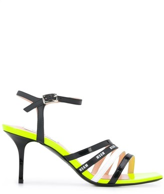 MSGM Strappy 75mm Patent-Leather Sandals