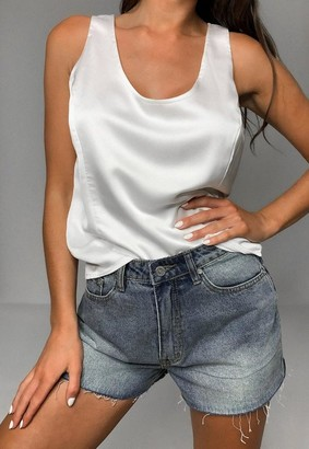 Missguided White Satin Cami Top