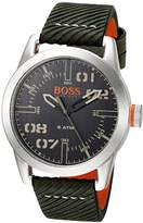 HUGO BOSS BOSS Orange Men's 'OSLO' Quartz Stainless Steel and Leather Casual Watch, Color:Green (Model: 1513415)