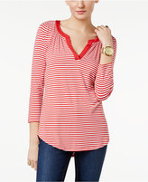 MICHAEL Michael Kors Striped Split-Neck Top