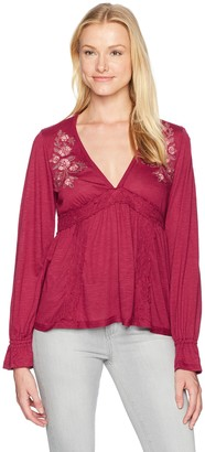 Taylor & Sage Women's Embroidered Babydoll Long Sleeve Top