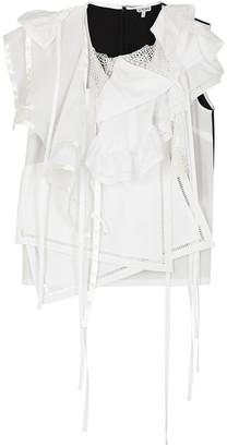 Loewe White ruffled layered cotton top