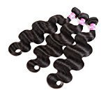 Dilys Hair Extensions Body Wave Brazilian Virgin Human Hair 3 Bundles Weaves 100% Unprocessed Hair Natural Black Color (16 18 20 Inch)