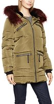 Dorothy Perkins Women's Faux Fur Hood Padded Trenchcoat Long Sleeve Coat