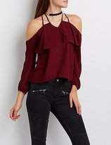 Charlotte Russe Strappy Cold Shoulder Ruffle Top