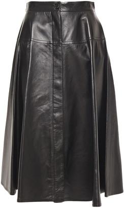 Marni Pleated Leather Midi Skirt