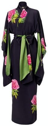 Castlebird Rose La Pivoine Maxi Silk Kimono - Midnight Blue