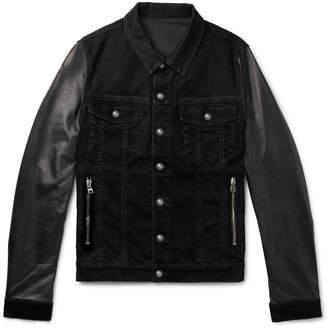 Balmain Slim-Fit Logo-Print Denim And Leather Jacket