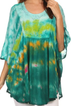 Sakkas 15031 - Lepha Long Wide Multi Colored Tie Dye Sequin Embroidered Poncho Top Blouse - Green - OS
