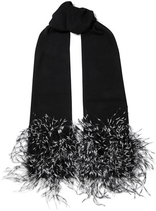 Eugenia Kim Candy Ostrich Feather-trimmed Cashmere Scarf