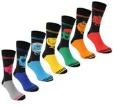 Character Mens Gents 7 Pack Crew Socks Ribbed Ankle Different Colours Printed