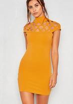 6345882e5a0 Missy Empire Toni Mustard Laser Cut Highneck Bodycon Dress