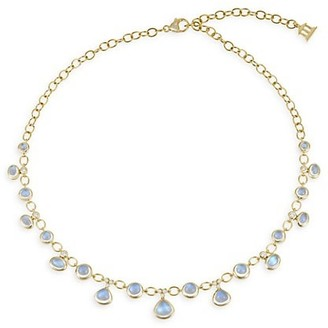 Temple St. Clair Royal Blue Moonstone, Diamond & 18K Yellow Gold Half Bib Necklace