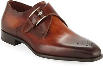 Magnanni Men's Single-Monk Leather Shoes