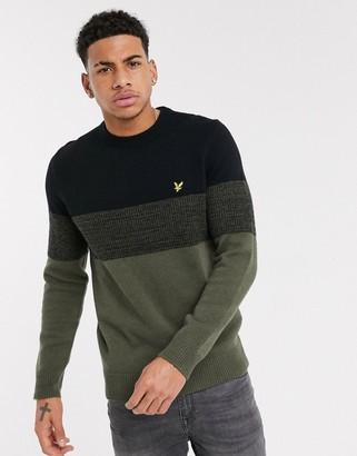 Lyle & Scott chest panel knitted jumper in khaki