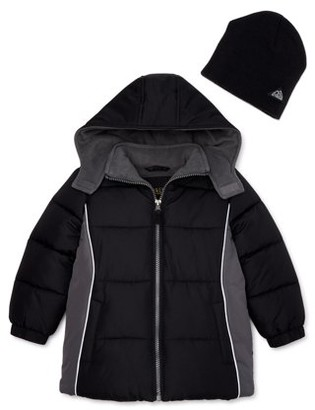 iXtreme Toddler Boy Winter Jacket Coat with Free Gift Hat, 2-Piece Set