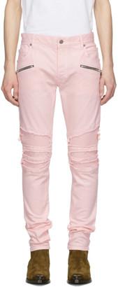 Balmain Pink Ribbed Jeans