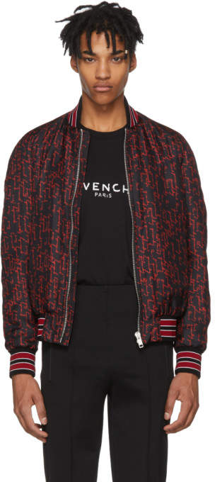 Givenchy Black and Red All Over Logo Signature Bomber Jacket