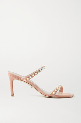 Stuart Weitzman Aleena Faux Pearl-embellished Suede Mules - Blush