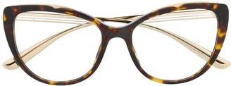 Bvlgari Tortoiseshell Cat-Eye Glasses