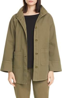 Eileen Fisher Stand Collar Organic Cotton Blend Jacket