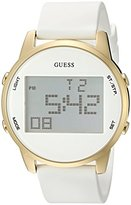 GUESS Men's U0815L1 Trendy Gold-Tone Stainless Steel Watch with Digital Dial and White Strap Buckle