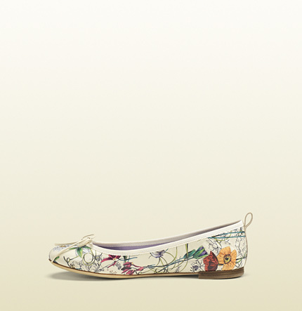 Gucci Flora Leather Ballet Flat