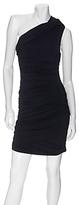 Vera Wang Lavendar Label One Shoulder Ruched Jersey Dress