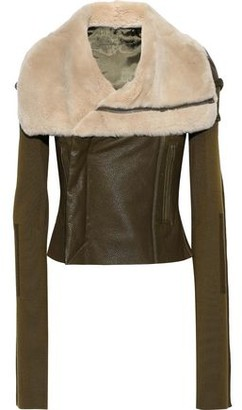 Rick Owens Shearling, Stretch-knit And Textured-leather Biker Jacket