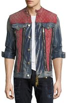 Robin's Jeans JEAN JACKET WITH RED SHOULDE