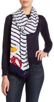 Kate Spade Percy On A Stripe Frayed Trim Scarf