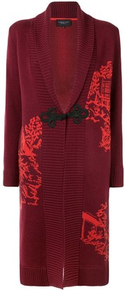 Shanghai Tang Chinoiseries intarsia knitted long cardigan