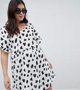 Asos Design Curve V Front V Back Smock Mini Dress In Brush Stroke Print
